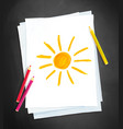child drawing sun vector image vector image