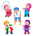 children are playing with their different toys vector image vector image