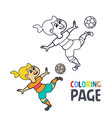 coloring page with woman football player cartoon vector image vector image