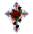 Cross with a red rose vector image