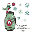cute christmas card with a bird sleeping on top of vector image vector image