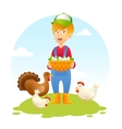 Farmer Woman With Chicken vector image