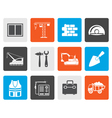 Flat building and construction icons vector image vector image