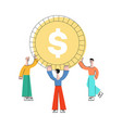 flat business man holding dollar coin vector image