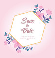 flowers wedding save date greeting card vector image