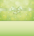 green gift card with ribbon and confetti vector image vector image