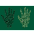 Hand prints with electrical circuit boards vector image vector image