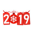 happe new year background isolated 2019 red vector image vector image