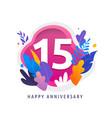 happy anniversary - fantasy leaves background vector image vector image