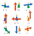 Icon set man with arrow vector image vector image