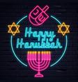 illuminated neon signs happy hanukkah vector image vector image