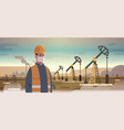 male engineer refinery worker in mask working on vector image vector image