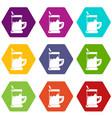 metal glass cup tea icons set 9 vector image