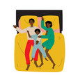 mother father and son sleeping together in bed vector image vector image