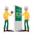 old man using atm digital terminal vector image vector image