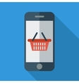 Phone with shopping basket vector image vector image