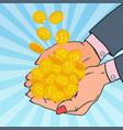 pop art female hands full of golden bitcoin vector image vector image