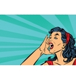 Pop art retro girl screams vector image vector image