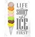 Poster ice cream cone vector image vector image