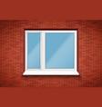 pvc window in brick wall vector image