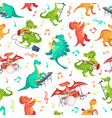 seamless cartoon music dinosaurs pattern dino vector image