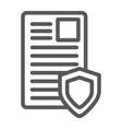 security document line icon privacy and paper vector image vector image