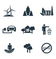 set ecology icons collection in flat design vector image vector image