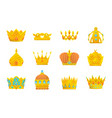 set gold crown icons collection crown vector image
