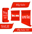 set of red sale banners isolated 3d scrolls vector image