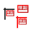 set red square for sale sign house logo eps 10 vector image