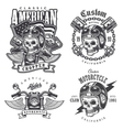 set vintage motorcycle t-shirt prints vector image
