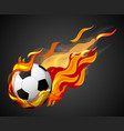 shooting soccer with flame on black background vector image vector image