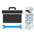 Toolbox Icon With 2017 Year Bonus Pictograms