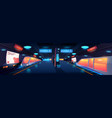 train in metro station interior at night time vector image vector image