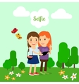 Two girls taking selfie vector image