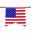 usa national flags hangs on ropes on white vector image vector image