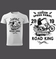 white t-shirt design with motorcyclist vector image vector image