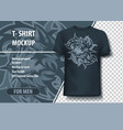 wolf with tribal background t-shirt template vector image