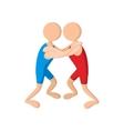 Wrestlers cartoon icon vector image