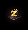 z letter alphabet icon design with golden star vector image