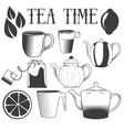 Tea time hand drawn Set of vector image