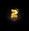 2 number icon design with golden star and glitter vector image vector image