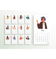 2020 world people calendar planner year template vector image