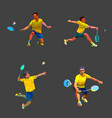 badminton player in different poses set collection