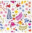 birds flowers stars and hearts pattern vector image vector image