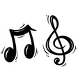 black silhouette treble clef and music note vector image vector image