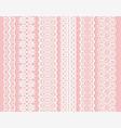 blockprint wide lace ribbon set white design vector image vector image