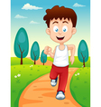 Boy jogging in park vector image vector image