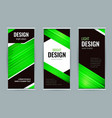 bright roll-up banner with green lines on black vector image vector image