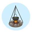 Campfire with pot icon Outdoor food preparing vector image